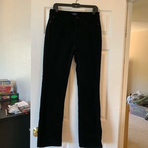 NYDJ black corduroy straight jeans EUC